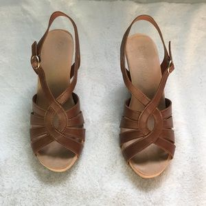 Brown Wedge Sandals size 8